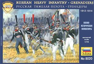 8020, 1:72, Russian heavy infantry - Grenadiers, 1812 - 1814 (Русская тяжелая пехота - гренадеры, 1812 - 1814 гг)