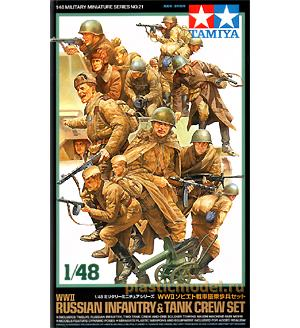 Tamiya 32521, 1:48, Russian infantry and tank crew set WWII