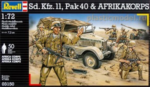 Revell 03150, 1:72, Sd.Kfz 11, Pak 40, BMW R 75 motorcycle with sidecar and Africa Corps