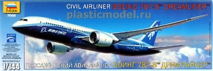 "Звезда 7008, 1:144, Boeing 787-8 ""Dreamliner"" Civil airliner (Боинг 787-8 «Дримлайнер» Пассажирский авиалайнер)"