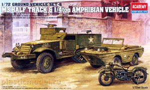 Academy 13408, 1:72, M3 half track and 1/4ton amphibian vehicle