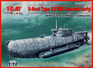 ICM S.006, 1:72, U-Boat Type XXVIIB Seehund (early) German WWII Midjet Submarine