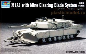 Trumpeter 07277, 1:72, M1A1 Abrams with Mine Clearing Blade System  (М1А1 «Абрамс» с минным тралом)