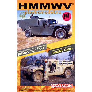 "Dragon 7297, 1:72, HMMWV M998 ""Gun Truck"" and M998 Cargo (Хаммер M998 с пулемётом и M998 грузовой)"