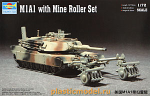 Trumpeter 07278 1:72, M1A1 with Mine Roller Set (M1A1 «Абрамс» с минным тралом)