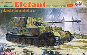 Dragon 6465 1:35, Sd.Kfz.184 Elefant w/Zimmerit («Элефант» немецкая тяжёлая самоходная артиллерийская установка с циммеритом)