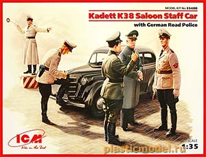 ICM 35480 1:35, Kadett K38 saloon staff car with German road police (Опель «Кадет» K38 седан с германской дорожной полицией)