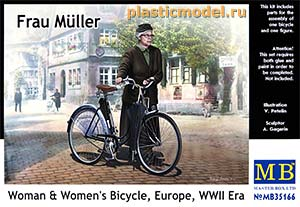 Master Box 35166 1:35, Frau Müller. Woman & Womens`s Bicycle, Europe, WWII Era (Фрау Мюллер. Женщина и женский велосипед, Европа, 2МВ)
