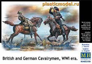 Master Box 35184 1:35, British and German Cavalrumen, WWI era (Британский и Немецкий кавалеристы, Первая Мировая война)