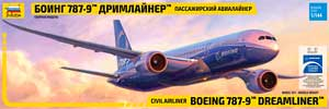 Звезда 7021 1:144, Civil airliner Boeing 787-9 Dreamliner (Боинг 787-9 «Дримлайнер» Пассажирский авиалайнер)