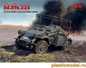 ICM 48192 1:48, Sd.Kfz.223 WWII German Radio Communication Vehicle (Sd.Kfz.223, Германский бронеавтомобиль радиосвязи 2МВ)