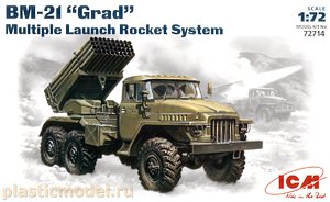 "ICM 72714 1:72, BM-21 ""Grad"" Multiple Launch Rocket System (БМ-21 «Град» реактивная система залпового огня)"